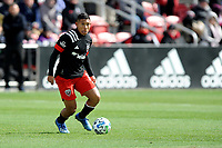WASHINGTON, DC - FEBRUARY 29: Washington, D.C. - February 29, 2020: Edison Flores #10 of D.C. United moves the ball during a game between D.C. United and the Colorado Rapids. The Colorado Rapids defeated D.C. Untied 2-1 during their Major League Soccer (MLS)  match at Audi Field during a game between Colorado Rapids and D.C. United at Audi Field on February 29, 2020 in Washington, DC.