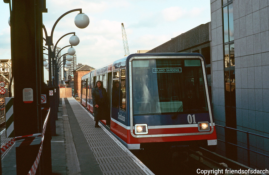 London:  Docklands, Docklands West Rail in Tower Bridge St.  Photo '90.