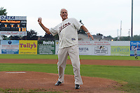 Former major league pitcher, and 1970 Cy Young Winner, Jim Perry throws out a ceremonial first pitch before a Batavia Muckdogs game against the Jamestown Jammers on July 23, 2013 at Dwyer Stadium in Batavia, New York.  Jamestown defeated Batavia 7-0.  (Mike Janes/Four Seam Images)