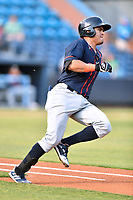 Bowling Green Hot Rods Jonathan Aranda (8) runs to first base during a game against the Asheville Tourists on May 25, 2021 at McCormick Field in Asheville, NC. (Tony Farlow/Four Seam Images)