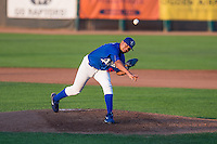 Hector Rodriguez (51) of the Ogden Raptors delivers a pitch to the plate against the Helena Brewers in Pioneer League action at Lindquist Field on August 17, 2015 in Ogden, Utah. Ogden defeated Helena 7-2. (Stephen Smith/Four Seam Images)