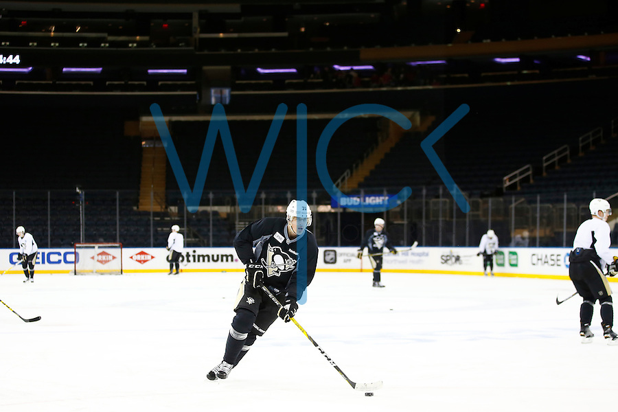 Evgeni Malkin #71 of the Pittsburgh Penguins works out during morning skate at Madison Square Garden in New York City on April 21, 2016. (Photo by Jared Wickerham / DKPS)