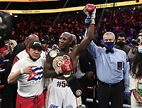 LAS VEGAS, NV - AUG 21: Yordenis Ugas after defeating Manny Pacquiao on the Fox Sports PBC pay-per-view fight night at the T-Mobile Arena on August 21, 2021 in Las Vegas, Nevada (Photo by Scott Kirkland/Fox Sports/PictureGroup)