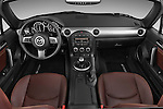 Straight dashboard view of a 2010 Mazda Miata MX5.