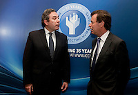 """**** NO FEE PIC***.12/04/2012 .(L to R) ICCL Director Mark Kelly,.Alan Shatter TD, Minister for Justice, Equality and Defence.during a conference on the """"The EU Directive on Victims Rights: Opportunities and Challenges for Ireland"""" hosted by the the Irish Council for Civil Liberties (ICCL) in Dublin Castle..Photo: Gareth Chaney Collins"""