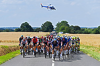 1st July 2021; Chateauroux, France; The peloton during stage 6 of the 108th edition of the 2021 Tour de France cycling race, a stage of 160,6 kms between Tours and Chateauroux on July 1