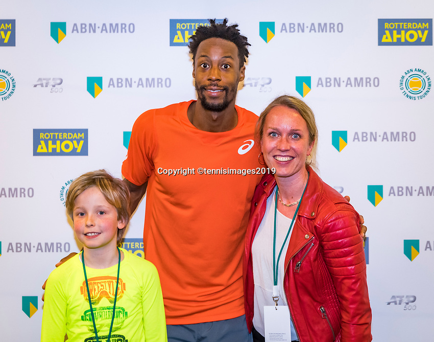 Rotterdam, The Netherlands, 17 Februari 2019, ABNAMRO World Tennis Tournament, Ahoy, Final, Gael Monfils (FRA) winner during the meet and greet<br /> Photo: www.tennisimages.com/Henk Koster