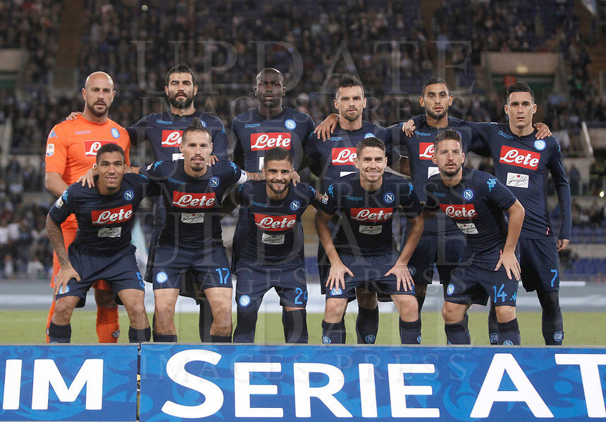 Calcio, Serie A: Roma, stadio Olimpico, 20 settembre 2017.<br /> Napoli's players pose for the pre match photograph prior to the start of the Italian Serie A football match between Lazio and Napoli at Rome's Olympic stadium, September 20, 2017.<br /> UPDATE IMAGES PRESS/Isabella Bonotto