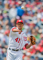 15 May 2016: Washington Nationals starting pitcher Joe Ross makes a throw to first during a game against the Miami Marlins at Nationals Park in Washington, DC. The Marlins defeated the Nationals 5-1 in the final game of their 4-game series.  Mandatory Credit: Ed Wolfstein Photo *** RAW (NEF) Image File Available ***