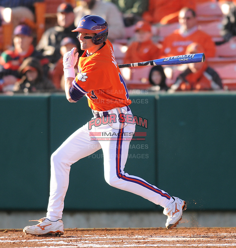 Infielder Brad Miller (13) in a game between the Charlotte 49ers and Clemson Tigers Feb. 20, 2009, at Doug Kingsmore Stadium in Clemson, S.C. (Photo by: Tom Priddy/Four Seam Images)