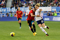 HARRISON, NJ - MARCH 08: Ona Batlle #2 of Spain battles for the ball with Emily Sonnett #14 of the United States during a game between Spain and USWNT at Red Bull Arena on March 08, 2020 in Harrison, New Jersey.