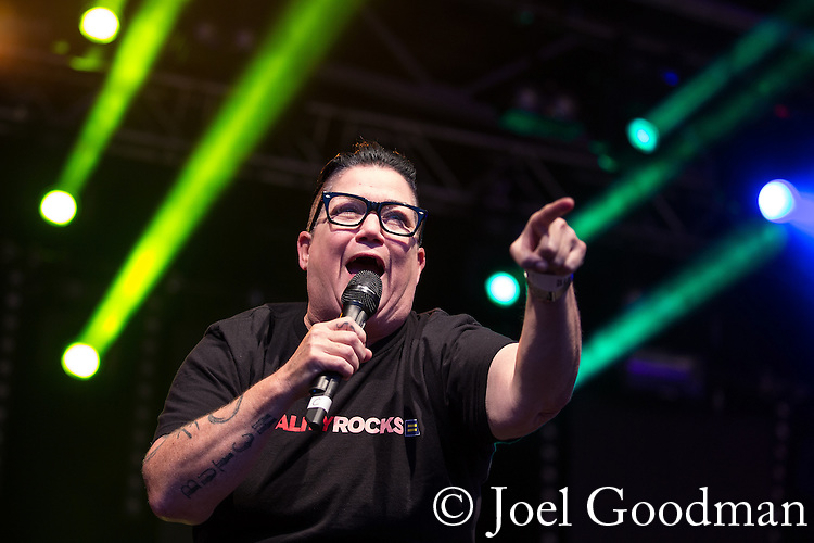 "© Joel Goodman - 07973 332324 . 22/08/2014 .  Manchester , UK . Lea DeLaria ( of American TV's Orange is the New Black ) on the main stage . Manchester Pride "" Big Weekend "" in Manchester's "" Gay Village "" today ( 22nd August 2014 ) . Photo credit : Joel Goodman"