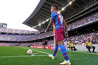 26th September 2021; Nou Camp, Barcelona, Spain: La Liga football, FC Barcelona versus Levante: Philippe Coutinho sets up to take a corner kick