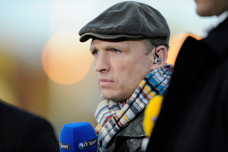 BT Sport presenter, Matt Dawson, during the Aviva Premiership match between Harlequins and Leicester Tigers at the Twickenham Stoop on Friday 18th April 2014 (Photo by Rob Munro)