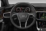 Car pictures of steering wheel view of a 2021 Audi A6-Sedan Premium-Plus 4 Door Sedan Steering Wheel