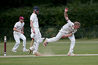 Harry Phillips in bowling action for Brentwood during Brentwood CC (bowling) vs Harold Wood CC, Hamro Foundation Essex League Cricket at The Old County Ground on 12th June 2021