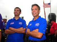 May 1, 2011; Baytown, TX, USA: NHRA pro stock motorcycle riders Hector Arana (right) and son Hector Arana Jr during the Spring Nationals at Royal Purple Raceway. Mandatory Credit: Mark J. Rebilas-