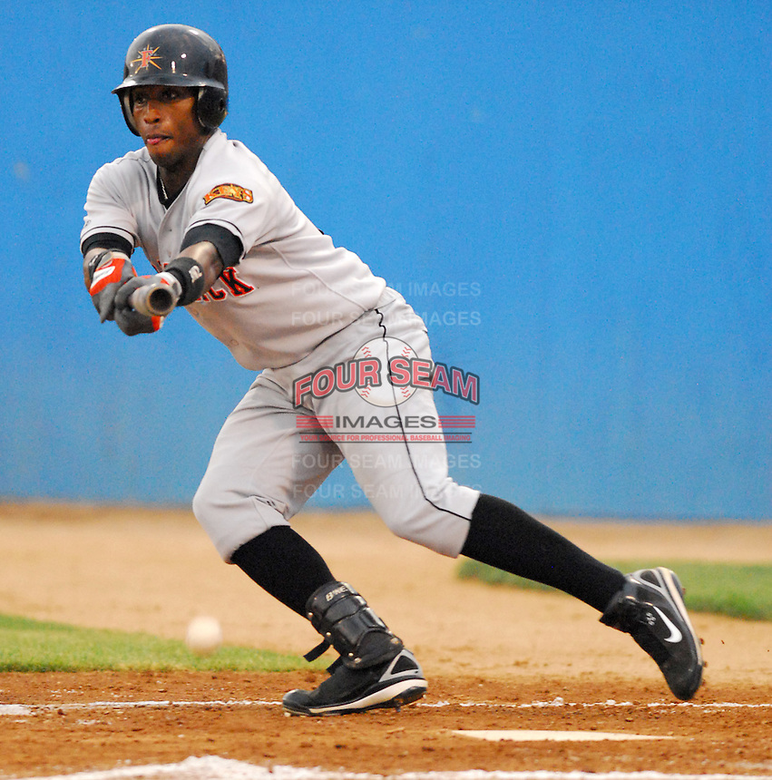 25 June 2007: Kennard Jones of the Frederick Keys, Class A affiliate of the Baltimore Orioles, vs. the Potomac Nationals, a Washington Nationals affiliate, at Pfitzner Stadium, Woodbridge, Va.  Photo by:  Tom Priddy/Four Seam Images