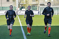 assistant referee Joline Delcroix , referee Lois Otte , assistant referee Niels DHaene pictured before a female soccer game between  AA Gent Ladies and Club Brugge YLA on the third matchday of play off 1 in the 2020 - 2021 season of Belgian Scooore Womens Super League , friday 23 th of April 2020  in Oostakker , Belgium . PHOTO SPORTPIX.BE | SPP | STIJN AUDOOREN