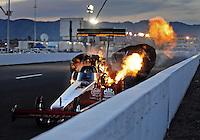 Feb. 19, 2010; Chandler, AZ, USA; NHRA top fuel dragster driver David Grubnic explodes an engine during qualifying for the Arizona Nationals at Firebird International Raceway. Mandatory Credit: Mark J. Rebilas-