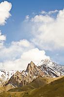 The Zanskar Range, a part of the Great Himalayan Range, as seen from the Srinagar to Leh road.  Ladakh, India.