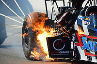 Oct. 28, 2012; Las Vegas, NV, USA: Detailed view as NHRA top fuel dragster driver Cory McClenathan has a fire during the Big O Tires Nationals at The Strip in Las Vegas. Mandatory Credit: Mark J. Rebilas-