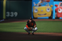 SAN FRANCISCO, CA - AUGUST 27:  Evan Longoria #10 of the San Francisco Giants plays defense at third base against the Los Angeles Dodgers during game two of a doubleheader at Oracle Park on Thursday, August 27, 2020 in San Francisco, California. (Photo by Brad Mangin)