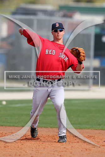 March 18, 2010:  Third Baseman David Renfroe of the Boston Red Sox organization during Spring Training at Ft.  Myers Training Complex in Fort Myers, FL.  Photo By Mike Janes/Four Seam Images
