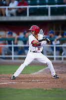 Orem Owlz right fielder Rayneldy Rosario (12) at bat during a Pioneer League game against the Ogden Raptors at Home of the OWLZ on August 24, 2018 in Orem, Utah. The Ogden Raptors defeated the Orem Owlz by a score of 13-5. (Zachary Lucy/Four Seam Images)