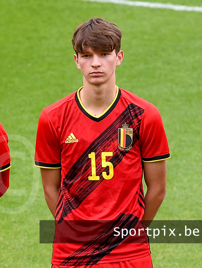 Mathis Sturbaut (15) of Belgium pictured in action during a soccer game between the national teams Under17 Youth teams of  Norway and Belgium on day 3 in the Qualifying round in group 3 on Tuesday 12 th of October 2020  in Tubize , Belgium . PHOTO SPORTPIX   DAVID CATRY