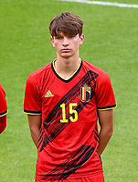 Mathis Sturbaut (15) of Belgium pictured in action during a soccer game between the national teams Under17 Youth teams of  Norway and Belgium on day 3 in the Qualifying round in group 3 on Tuesday 12 th of October 2020  in Tubize , Belgium . PHOTO SPORTPIX | DAVID CATRY