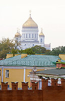 The Cathedral of Christ The Savior with the Kremlin Wall in Moscow, Russia