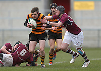 CAI vs RBAI | Tuesday 3rd March 2015<br /> <br /> Callum McLaughlin is tackled by Matthew Norris during the 2015 Ulster Schools Cup Semi-Final between Coleraine Inst and RBAI at the Kingspan Stadium, Ravenhill Park, Belfast, Northern Ireland.<br /> <br /> Picture credit: John Dickson / DICKSONDIGITAL