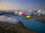 Parachutists over Lake Coleridge in the  Canterbury Region of New Zealand.