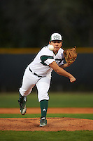 Chicago State Cougars relief pitcher Robert Gutierrez (19) delivers a pitch during a game against the Georgetown Hoyas on March 3, 2017 at North Charlotte Regional Park in Port Charlotte, Florida.  Georgetown defeated Chicago State 11-0.  (Mike Janes/Four Seam Images)