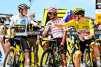 10th July 2021; Carcassonne, France;  VINGEGAARD Jonas (DEN) of JUMBO-VISMA, QUINTANA Nairo (COL) of TEAM ARKEA - SAMSIC and POGACAR Tadej (SLO) of UAE TEAM EMIRATES during stage 14 of the 108th edition of the 2021 Tour de France cycling race, a stage of 183,7 kms between Carcassonne and Quillan.