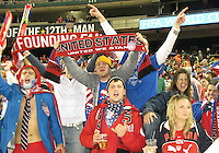 Fans of the USA during a 2010 World Cup qualifying match in the CONCACAF region against Costa Rica at RFK Stadium on October 14 2009, in Washington D.C.The match ended in a 2-2 tie.