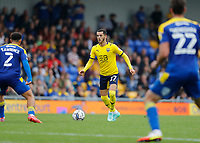 4th September 2021; Merton, London, England;  EFL Championship football, AFC Wimbledon versus Oxford City: Nathan Holland of Oxford United is marked by Henry Lawrence of AFC Wimbledon