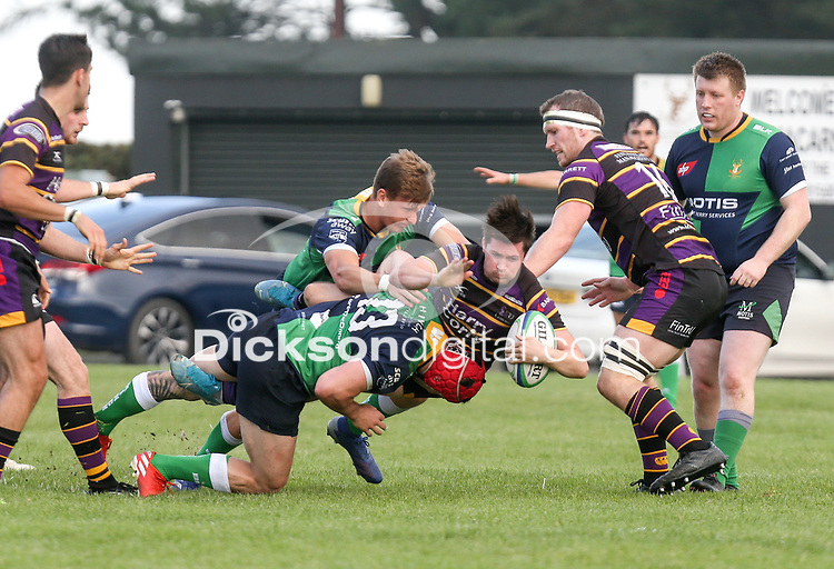 Saturday 25th September 2021<br /> <br /> Matthew Keane is tackled by Tagen Strydom during the Ulster Conference League clash between Ballynahinch 2s and Instonians at Ballymacarn Park, Ballynahinch, County Down, Northern Ireland. Photo by John Dickson/Dicksondigital