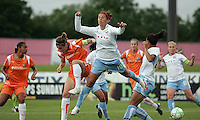 Neither Sky Blue's Heather O'Reilly (9)  nor Chicago's Carli Lloyd (10) can control the ball on a Sky Blue free kick.  Sky Blue defeated the Chicago Red Stars 1-0 in a mid-week game, Wednesday, June 17, at Yurcak Field.