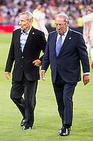 Paco Gento and Raymond Kopa during the XXXVII Santiago Bernabeu Trophy in Madrid. August 16, Spain. 2016. (ALTERPHOTOS/BorjaB.Hojas) /NORTEPHOTO