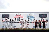 #77 Mazda Team Joest Mazda DPi, DPi: Oliver Jarvis, Tristan Nunez, Olivier Pla, #7 Acura Team Penske Acura DPi, DPi: Helio Castroneves, Ricky Taylor, #31 Whelen Engineering Racing Cadillac DPi, DPi: Pipo Derani, Felipe Nasr, Filipe Albuquerque, podium
