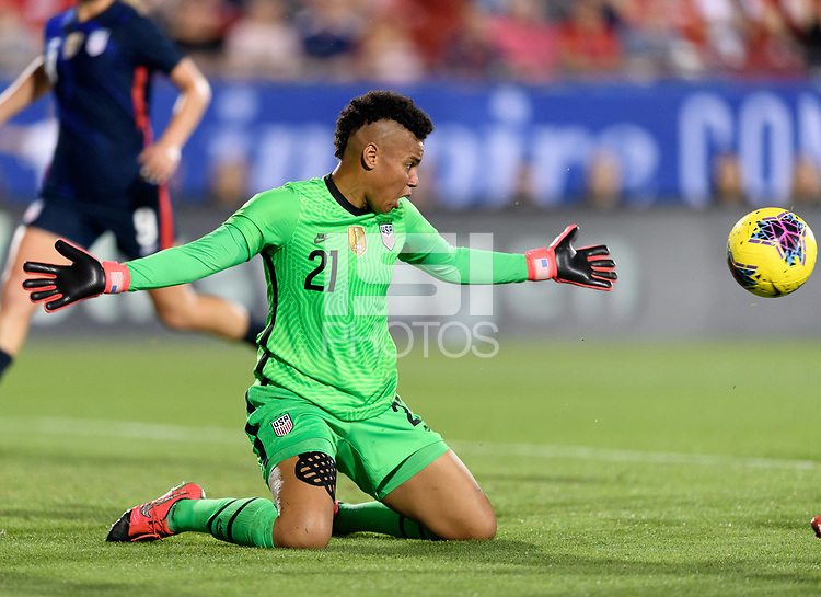 FRISCO, TX - MARCH 11: Adrianna Franch #21 of the United States stops a shot on goal in the second half during a game between Japan and USWNT at Toyota Stadium on March 11, 2020 in Frisco, Texas.