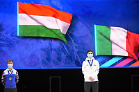 SPEEDSKATING: DORDRECHT: 06-03-2021, ISU World Short Track Speedskating Championships, Podium 500m Men, Semen Elistratov (RSU), Shaoang Liu (HUN), ©photo Martin de Jong