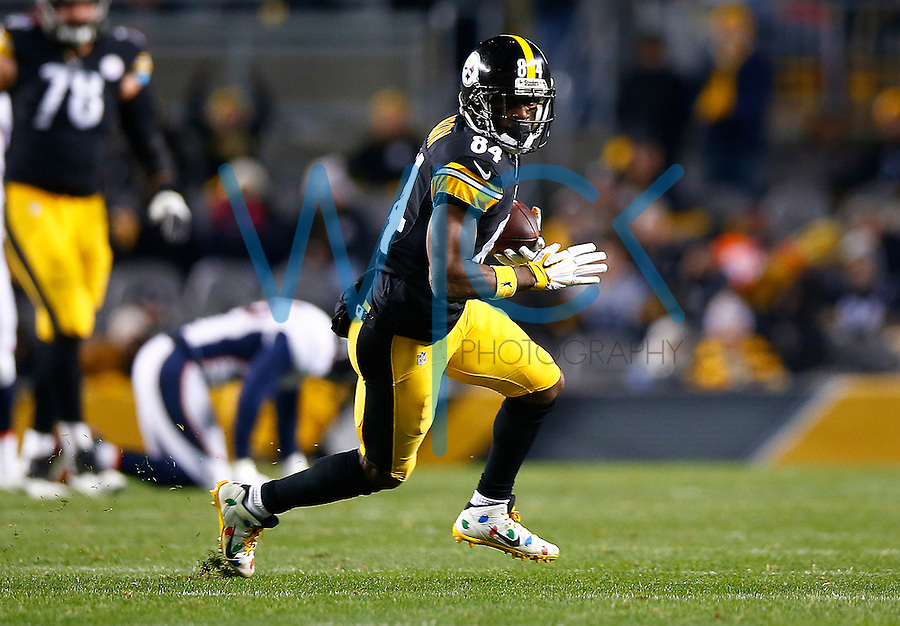Antonio Brown #84 of the Pittsburgh Steelers in action against the Denver Broncos during the game at Heinz Field on December 20, 2015 in Pittsburgh, Pennsylvania. (Photo by Jared Wickerham/DKPittsburghSports)