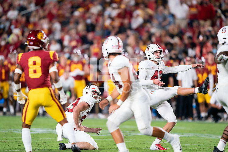 LOS ANGELES, CA - SEPTEMBER 11: Ryan Sanborn, Joshua Karty during a game between University of Southern California and Stanford Football at Los Angeles Memorial Coliseum on September 11, 2021 in Los Angeles, California.