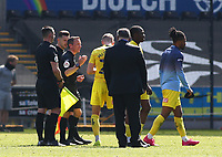 17th April 2021; Liberty Stadium, Swansea, Glamorgan, Wales; English Football League Championship Football, Swansea City versus Wycombe Wanderers; Jason McCarthy of Wycombe Wanderers discusses the Swansea City penalty decision with Referee Keith Stroud after the final whistle