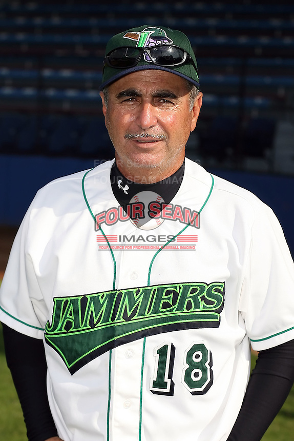 June 27th 2008:  Coach Johnny Rodriguez of the Jamestown Jammers, Class-A affiliate of the Florida Marlins, during a game at Russell Diethrick Park in Jamestown, NY.  Photo by:  Mike Janes/Four Seam Images