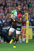 Ugo Monye of Harlequins tears down the wing during the Aviva Premiership match between Harlequins and Saracens at the Twickenham Stoop on Sunday 30th September 2012 (Photo by Rob Munro)