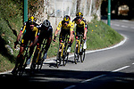 Team Jumbo-Visma riders try to bring race leader Yellow Jersey Primoz Roglic (SLO) back to the peloton after crashing twice during Stage 8 of Paris-Nice 2021, running 92.7km from Le Plan-du-Var to Levens, France. 14th March 2021.<br /> Picture: ASO/Fabien Boukla | Cyclefile<br /> <br /> All photos usage must carry mandatory copyright credit (© Cyclefile | ASO/Fabien Boukla)